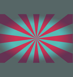 background with retro red and turquoise rays vector image
