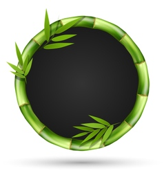 Bamboo grass circle frame with leafs isolated on vector image