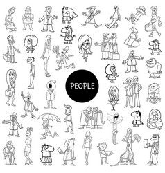 black and white cartoon people set vector image