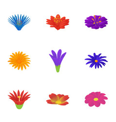 Blossom icons set cartoon style vector