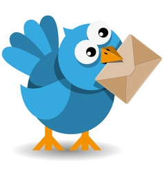 blue bird with a paper envelope vector image