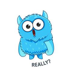 blue emotional monster sticker vector image