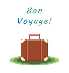 Bon voyage suitcase vector