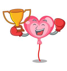 boxing winner ballon heart mascot cartoon vector image