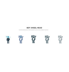 Boy angel head icon in different style two vector