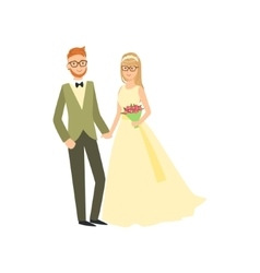 Bride And Groom In Glasses Newlywed Couple In vector image