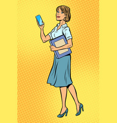 business woman with smartphone vector image