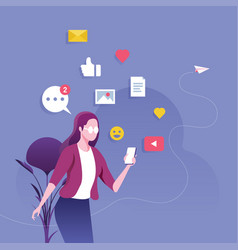 Businesswoman using a smartphone with social media vector
