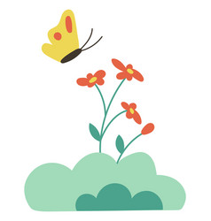 butterfly on flowers isolated cartoon bud vector image