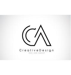 Ca letter logo design in black colors vector