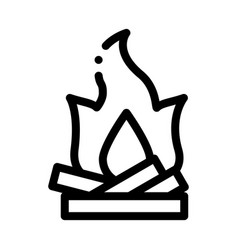Camping fire with firewood icon outline vector