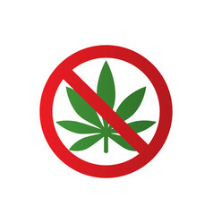 Cannabis leaf icon in prohibition red circle no vector