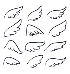 Cartoon angel wings winged doodle sketch icons vector