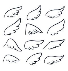 Cartoon angel wings winged doodle sketch icons vector