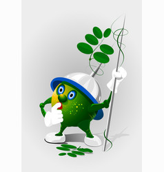cartoon little pea with spears eps 10 vector image