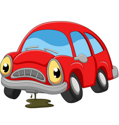 cartoon red car sad in need repair vector image