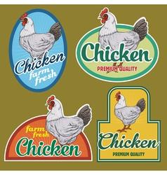 Chicken vintage labels set vector