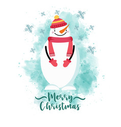 Christmas card with dressed snowman vector