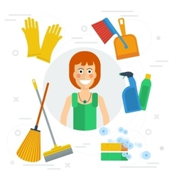 Cleaning lady concept vector