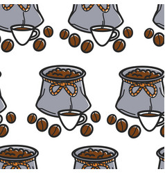 coffee beans in sack and cup brazilian drink vector image