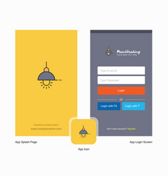 company light splash screen and login page design vector image
