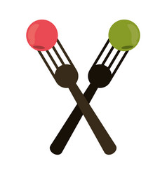 Crossed fork with fruit tasty vector
