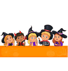 Cute kids in halloween hat template for design vector