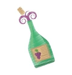 Drawing green wine bottle cork harvesting grape vector