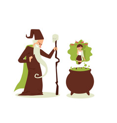 evil sorcerer cast spell on woman old wizard vector image