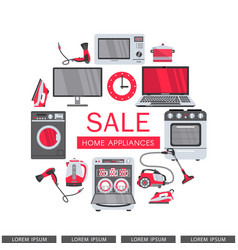 Flat home appliance sale icon set vector