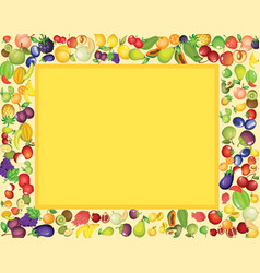 frame template design with mixed tropical fruits vector image