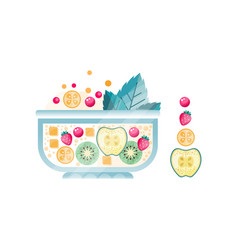 Fresh fruit salad in glass bowl sweet dish from vector