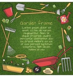 Garden tools frame vector