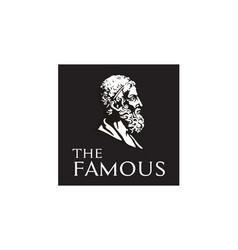 greek philosopher figure face head statue logo vector image