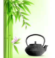 Green bamboo and tea vector