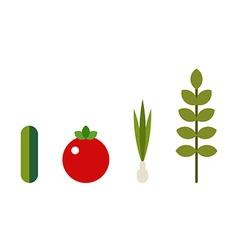 Green vegetables and herbs Organic vegetarian food vector