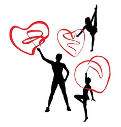 Gymnast with Love Ribbon Silhouettes vector