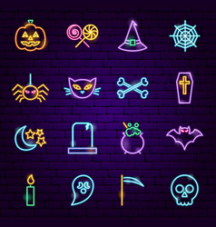 Halloween neon icons vector