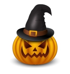 Halloween pumpkin with heat isolated on white vector