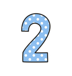 hand drawn number 2 with polka dots on pastel blue vector image