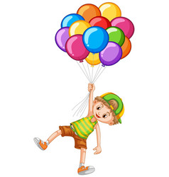 Happy boy holding colorful balloons vector