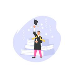 Happy graduate women throws academic cap up vector