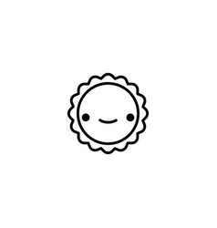 happy sun icon vector image