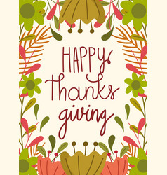 happy thanksgiving day greeting hand lettering vector image