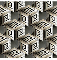 isometric 3d cubes greek seamless pattern vector image