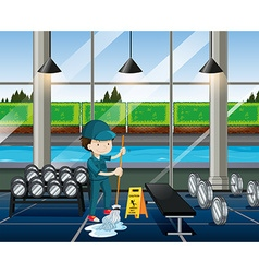 Janitor cleaning fitness room vector