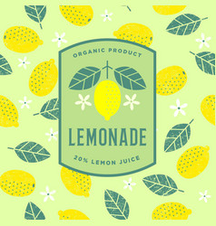 Lemon logo lemonade emblem flat seamless pattern vector