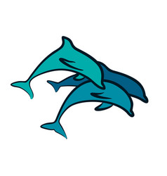 Logo with dolphins vector