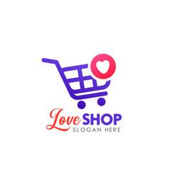 Love shop logo design template shopping cart icon vector