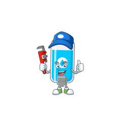 Mascot wall hand sanitizer work as smart plumber vector